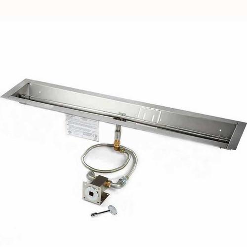 "24"" manual match lit trough burner and pan"