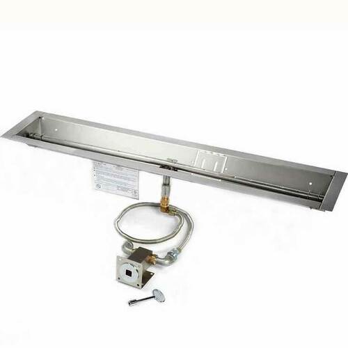 "48"" manual match lit trough burner and pan"