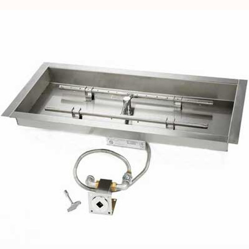 "Manual match lit 18"" x 6"" Burner & 24"" x 12"" Pan"