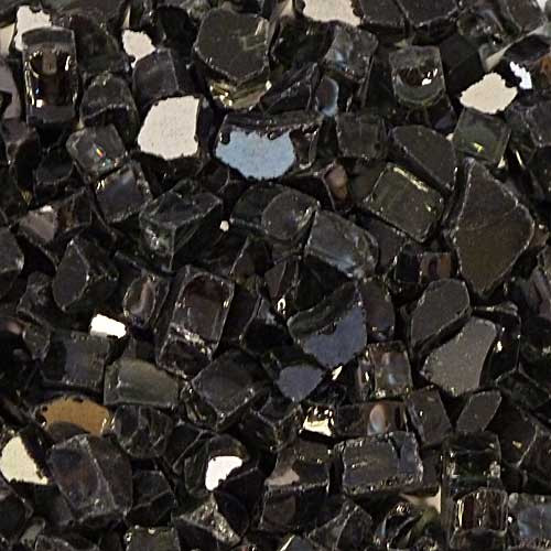 Large black reflective fire glass