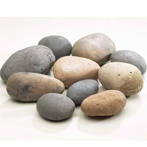 "4"" - 6"" ceramic, heat-resistant river stones for a fire pit feature"