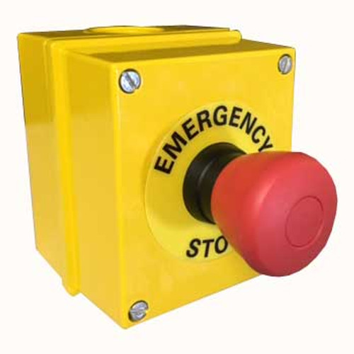 Aluminum emergency stop button in a yellow enclosure