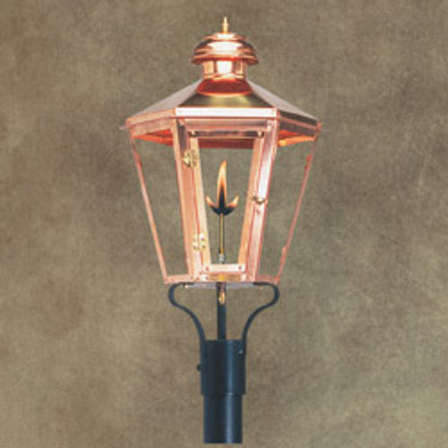 Custom copper gas light for column mount- The Apollo II
