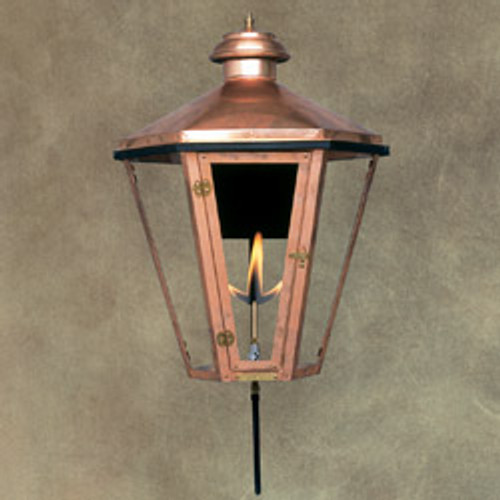 Custom copper gas light with standard wall bracket- The Apollo III