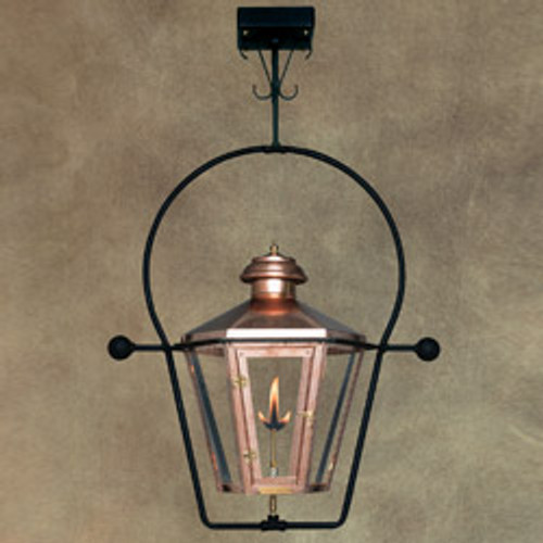 Custom copper gas light with ceiling yoke mount- The Apollo III