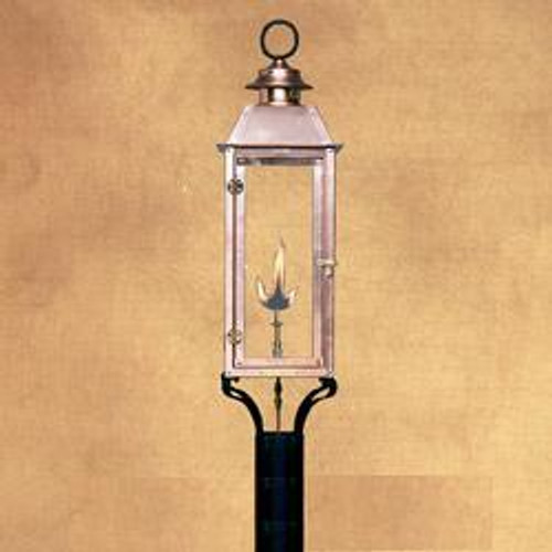 Handcrafted copper gas light with decorative steel mounting column- The Vulcan III with column mount