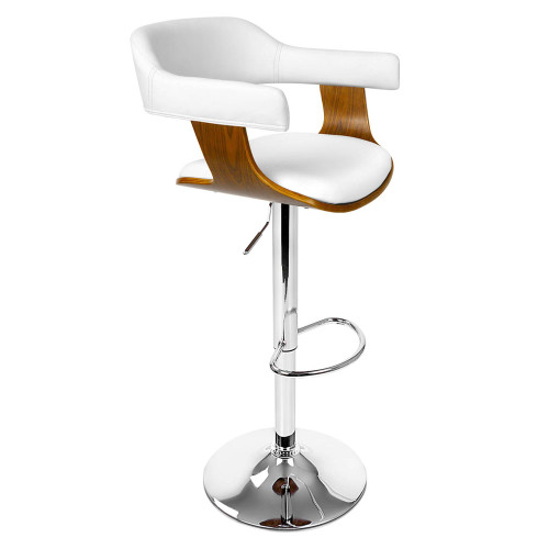 Wooden Bar Stool with White PU Leather