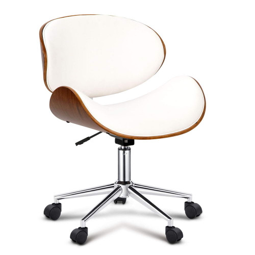 Walnut Base Office Chair - White