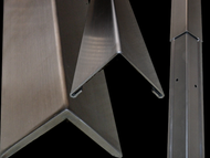 48'' x 3'' x 3'' - 90 Deg, 16ga, Type 304,  Satin #4 Finish, 2-Piece Stainless Steel Corner Guard with Aluminum Backing