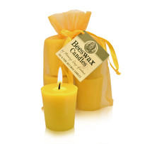 Votive- Flat top tapered Beeswax Candles (Single or 4)