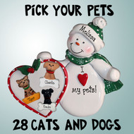 image of Snowman with Holly & Optional Pets ornament