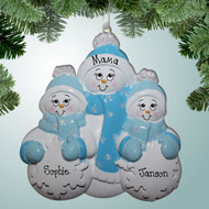 image of Snowman Family with Blue Scarves - 3 ornament