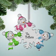 image of Falling Snowman Family - 3 ornament