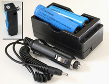 AC/DC Plug charger with two 18650 rechargeable Li-Ion batteries