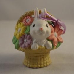 1985 White Bunny In Basket