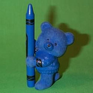 1987 Flocked Crayola Bear - Blue