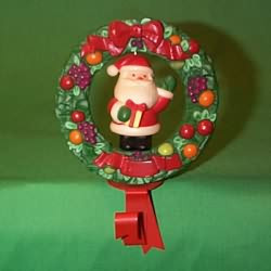 1982 Della Robia Wreath With Santa - Stocking Hanger