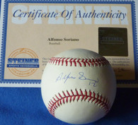 Alfonso Soriano 12 Signed NY Yankees Chicago Cubs Texas Rangers Autographed OML Major League Baseball Steiner COA & Hologram