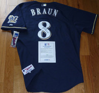 """Ryan Braun hand-signed National League MVP  """"2011 NL MVP"""" Inscribed  Milwaukee Brewers #8 Blue  Authentic Majestic Jersey  with Major League Baseball  MLB numbered hologram  w printed COA!   This Size 52 jersey is autographed by Ryan in black permanent ink!"""
