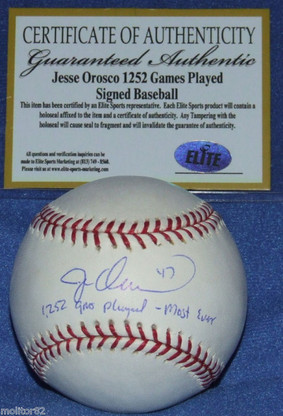 NY NEW YORK METS JESSE OROSCO AUTOGRAPHED Games Played Most Ever BASEBALL ESM COA with Matching numbered holograms