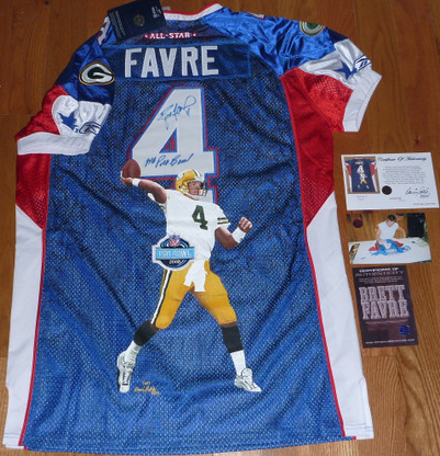 GB GREEN BAY PACKERS BRETT FAVRE AUTOGRAPHED LE HAND PAINTED LIMITED EDITION 1 of ONLY 1 PRO BOWL JERSEY BRETT FAVRE AUTHENTIC TRiple matching hologrammed COA signing photo