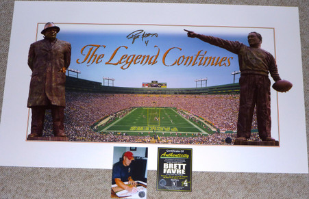 """BRETT FAVRE hand-signed   """"The Legend Continues"""" Panoramic   Vince Lombardi Curly Lambeau Print  with Official Brett Favre Authentication and signing photo!"""