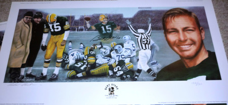 BART STARR AUTOGRAPHED ARTIST ANDY GORALSKI SIGNED GREEN BAY PACKERS ICE BOWL TRISTAR LIMITED EDITION LITHOGRAPH COA
