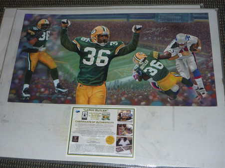 GREEN BAY PACKERS LEROY BUTLER HOF 07 AUTOGRAPHED PAINTING ANDY GORALSKI SIGNED