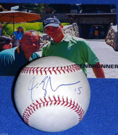 NJ DEVILS DALLAS STARS US OLYMPIC CAPT JAMIE LANGENBRUNNER AUTOGRAPHED Major League BASEBALL  Includes photo from the event where it was signed.