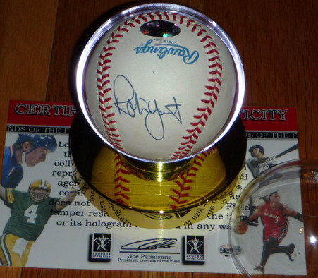 Robin Yount hand-signed   Official Bobby Brown American League Baseball  Legends of the Field hologram & COA  plus gold base acrylic Case