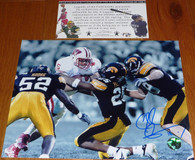 Chad Greenway Signed 18 Inscribed Iowa Hawkeyes 8x10 photo  with Legends of the Field COA &    CG exclusive Hologram Authentication.