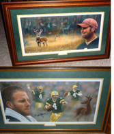 RARE RARE Matching Numbered Set! Please see all of the image detail! Brett Favre hand-signed   Andrew Goralski Limited Edition   Framed art lithographs   titled  Looking Forward &  Looking Back  Matching limited Edition set   with Publisher Wildlife Unlimited  Certificate of Authenticity that includes  Brett signing the edition and Artist  Andy Goralski signature.  SOLD OUT fast when this series was created and originally offered by Wildlife Unlimited!  MATCHING NUMBERED PIECES   LIMITED EDITION  107 of   ONLY 150!  Can only be found in the secondary market, right here and now!