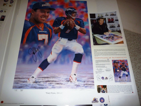 """DENVER BRONCOS JOHN ELWAY 7 SIGNED Autographed Limited Edition 4 of only 4 C/E """"THE FINAL DRIVE"""" Artist Andy GORALSKI Lithograph with COA & Signing photo"""