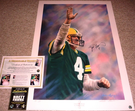 GREEN BAY PACKERS BRETT FAVRE 4 AUTOGRAPHED SIGNED A MEMORABLE MOMENT LIMITED EDITION of ONLY 15 ARTIST PROOF TROPHY REMARQUE GORALSKI LITHOGRAPH COA Brett Favre Authentic COA Holograms