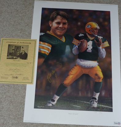 GREEN BAY PACKERS BRETT FAVRE 4 AUTOGRAPHED SIGNED HEART OF GOLD LIMITED EDITION GORALSKI LITHOGRAPH COA LE 2 of only 9 Conservation Edition
