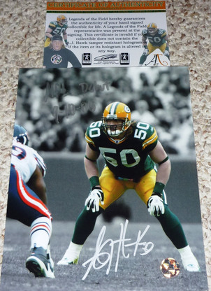 RARE!    A.J. Hawk 50 Signed NFL Debut 9-10-06 Rookie start vs Chicago Bears 8x10 Colorized photo  with Legends of the Field AJ Hawk COA &     exclusive AJ Hologram Authentication.