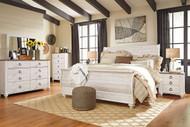 Willowton Whitewash 6 Pc. Dresser, Mirror, Chest & King Sleigh Bed