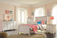 Willowton Whitewash 6 Pc. Dresser, Mirror, Chest & Full Panel Bed