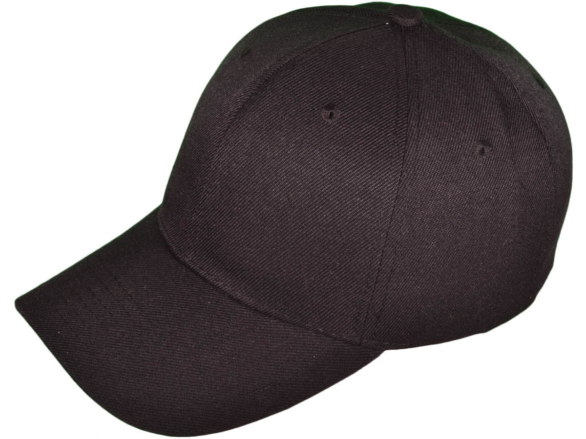 ed249c64a493d BK Caps 6 Panel Mid Profile Blank Baseball Caps (Black) - 22132