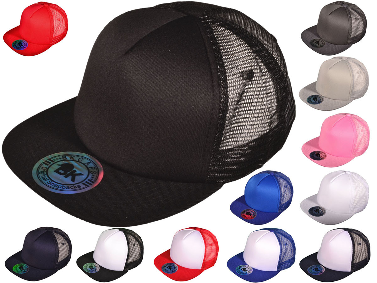 ... Front Trucker Mesh Back Hats BK Caps 2 Tone Flat Bill Polyester (12  Colors Available) - 4761. bd-1.85-bd 35230256259f