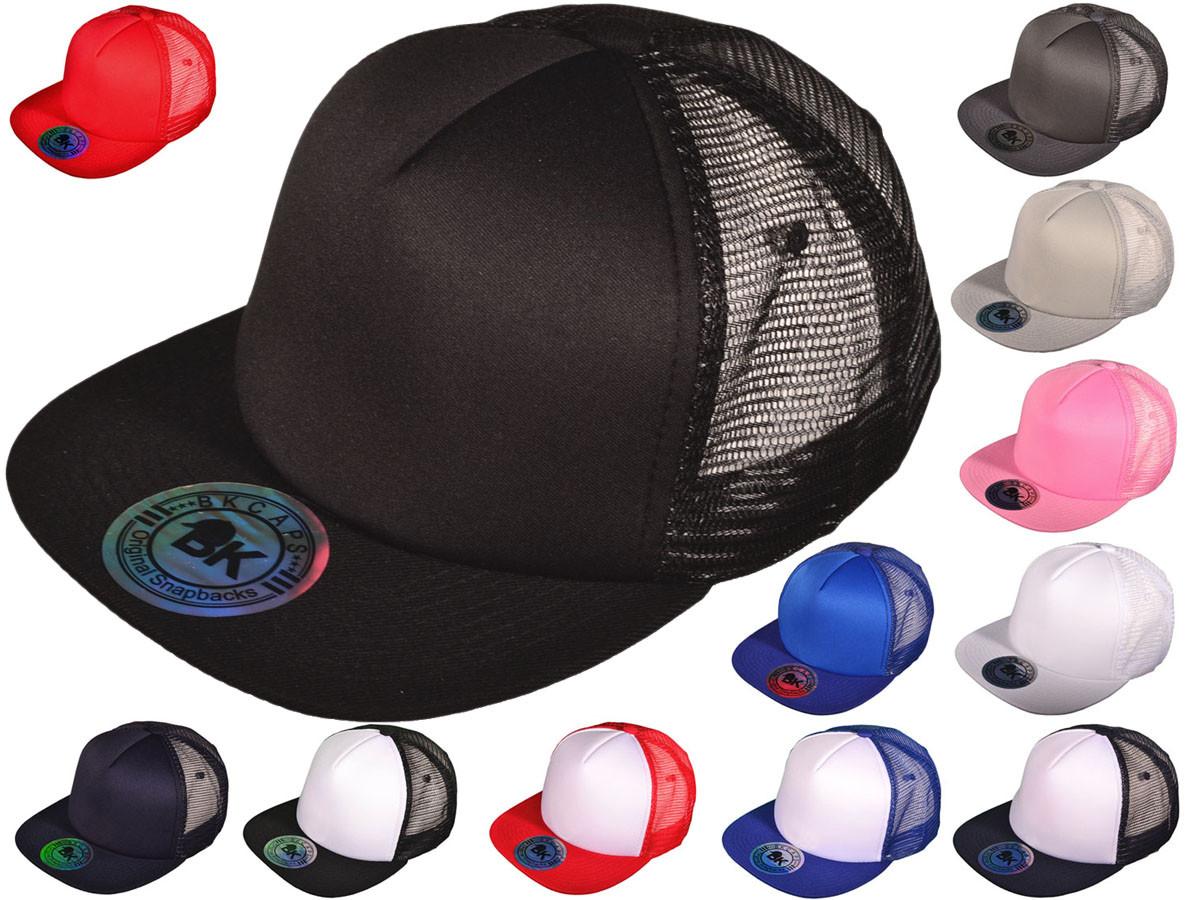 10098446041 Wholesale BK Caps 2 Tone Flat Bill Polyester Foam Front Mesh Back Trucker  Hats (White Black)