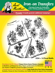 Aunt Martha's Embroidery Transfer Pattern #3254 14 Floral Motifs