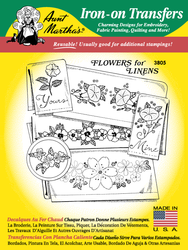 Aunt Martha's Embroidery Transfer Pattern #3805 Flowers for Linens