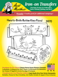 Aunt Martha's Embroidery Transfer Pattern #3870 Hearts, Birds,  Butterflies, & Floral