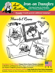 Aunt Martha's Embroidery Transfer Pattern #3934 Hearts & Roses