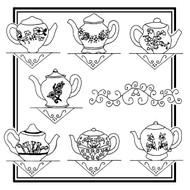 Aunt Martha's #3898 Floral Teapots