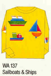 Sailboats & Ships Iron-on Transfer Pattern