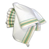 Aunt Martha's Stitch 'Em Up Retro Green/Yellow Stripe Towels Set of 12