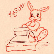 Aunt Martha's #675 Bunny Rabbit Redwork (Machine Embroidery File)