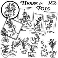 Aunt Martha's #3826 Herbs in Pots